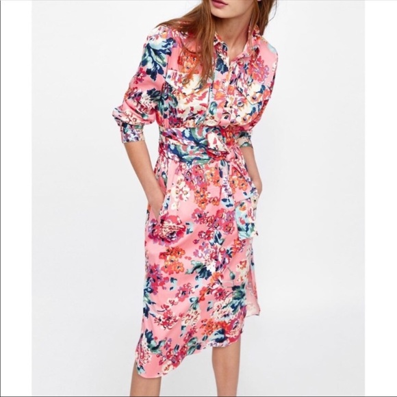 82d62a35 Zara Dresses | Nwt Floral Midi Print Shirt Dress Size Xs | Poshmark